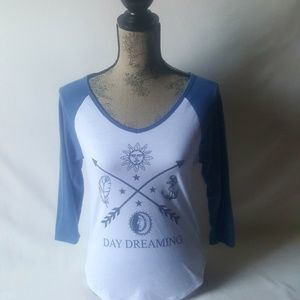AWAKE, women's blue and white graphic top